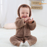 04 - Newborn Baby Bear Romper - Light Brown 04