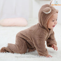 05 - Newborn Baby Bear Romper - Light Brown 05