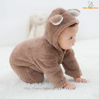 06 - Newborn Baby Bear Romper - Light Brown 06