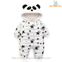 06 - Panda Hooded Star Pattern Winter Baby Romper Coat - White 01