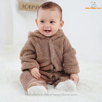 09 - Newborn Baby Bear Romper - Light Brown 09