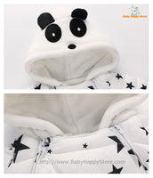 09 - Panda Hooded Star Pattern Winter Baby Romper Coat - White 04
