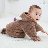 10 - Newborn Baby Bear Romper - Light Brown 10