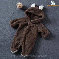 11 - Newborn Baby Bear Romper - Dark Brown 01