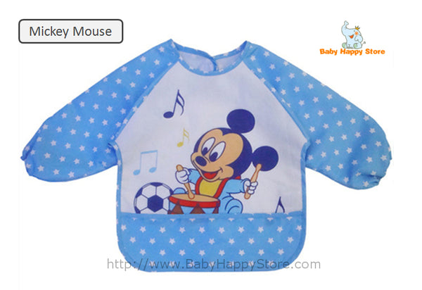 12 - Long Sleeve Waterproof Baby Bibs 0-2 Years - Mickey Mouse