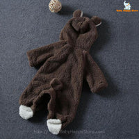 12 - Newborn Baby Bear Romper - Dark Brown 02