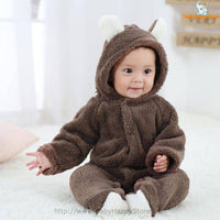 14 - Newborn Baby Bear Romper - Dark Brown 04