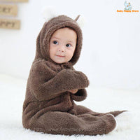 15 - Newborn Baby Bear Romper - Dark Brown 05