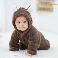 16 - Newborn Baby Bear Romper - Dark Brown 06