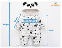 16 - Panda Hooded Star Pattern Winter Baby Romper Coat - Size Chart