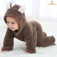 17 - Newborn Baby Bear Romper - Dark Brown 07