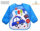 19 - Long Sleeve Waterproof Baby Bibs 0-2 Years - Police Car