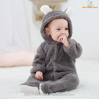 25 - Newborn Baby Bear Romper - Gray 07