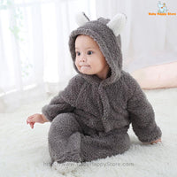 26 - Newborn Baby Bear Romper - Gray 08