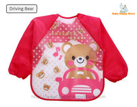 26 - Long Sleeve Waterproof Baby Bibs 0-2 Years - Driving Bear