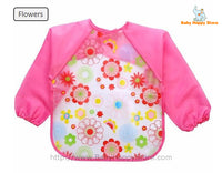 29 - Long Sleeve Waterproof Baby Bibs 0-2 Years - Pink Flowers