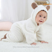 42 - Newborn Baby Bear Rompe - White 04