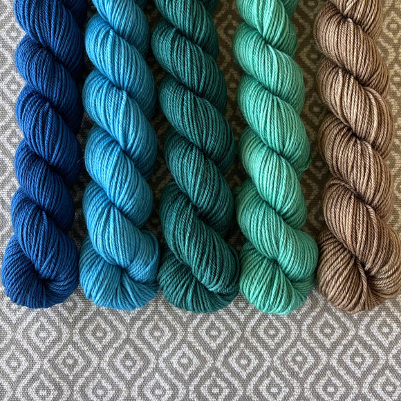 Simply Sock 5-Pack Mini Skeins in Aquamarine Semi Solid