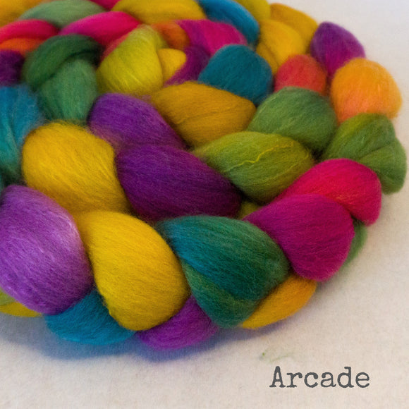 Organic Polwarth Mulberry Silk Roving - Arcade