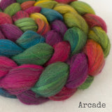 Polwarth Black Bamboo Silk Roving - Arcade