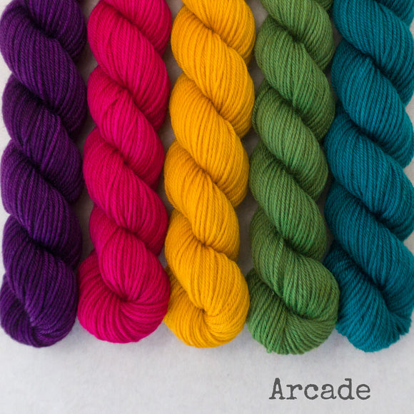 Simply Sock 5-Pack Mini Skeins in Arcade Semi Solid
