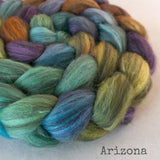 Polwarth Black Bamboo Silk Roving - Arizona
