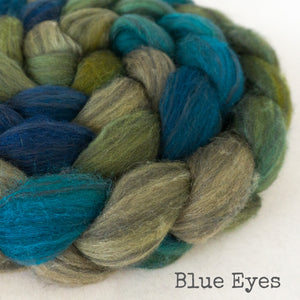 Polwarth Black Bamboo Silk Roving - Blue Eyes