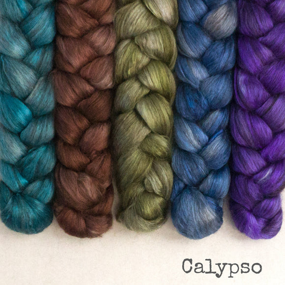 Yak Silk Roving - Calypso - Bundle