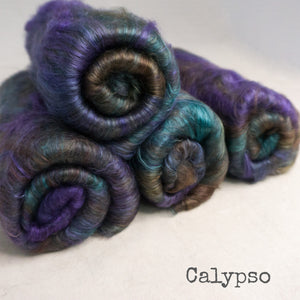 Yak Silk Batts 4 ounces - Calypso
