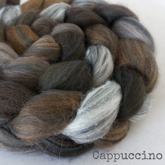 Polwarth Black Bamboo Silk Roving - Cappuccino