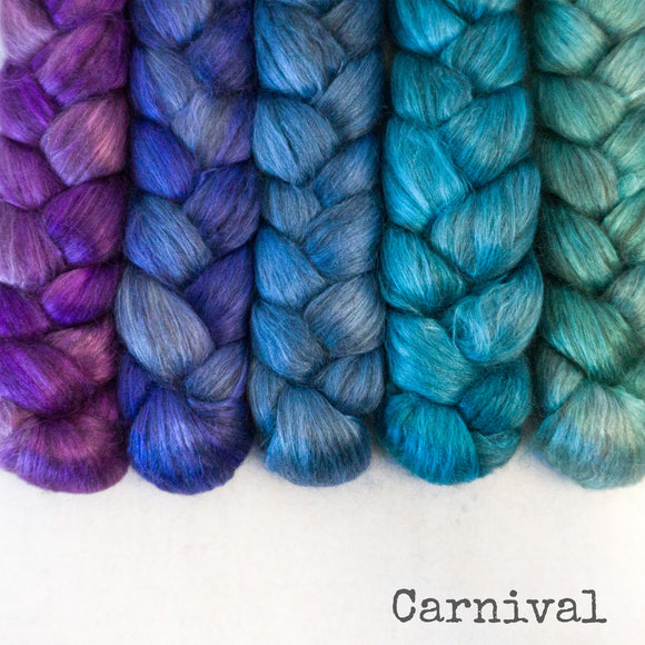 Yak Silk Roving - Carnival - Bundle