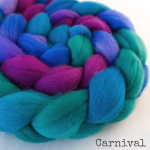 Polwarth Wool Roving - Carnival