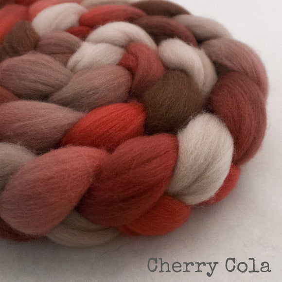 Polwarth Wool Roving - Cherry Cola