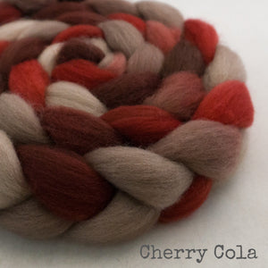 BFL Wool Roving - Cherry Cola