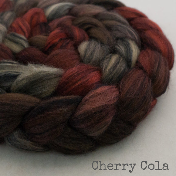 Polwarth Black Bamboo Silk Roving - Cherry Cola