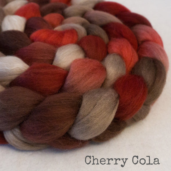 Merino Camel Silk Roving - Cherry Cola