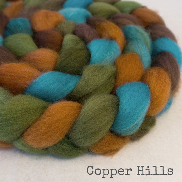 BFL Wool Roving - Copper Hills