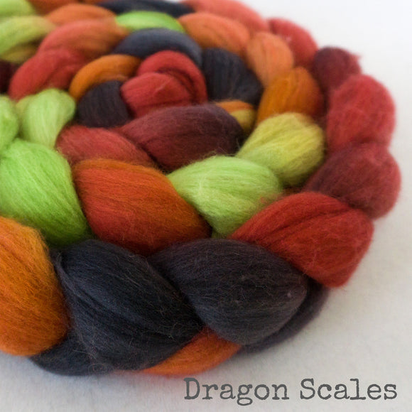 Merino Camel Silk Roving - Dragon Scales