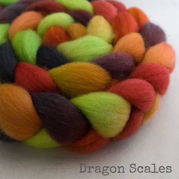 Falkland Wool Roving - Dragon Scales