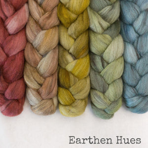 Merino Yak Silk Roving - Earthen Hues - Bundle
