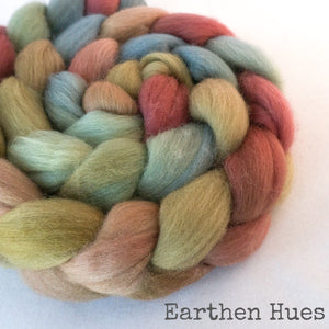 Polwarth Wool Roving - Earthen Hues