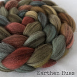 Heathered BFL Roving - Earthen Hues