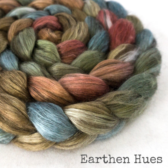 Yak Silk Roving - Earthen Hues