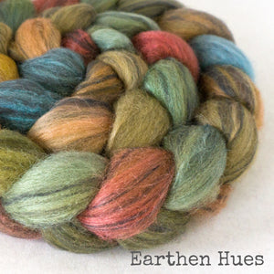 Polwarth Black Bamboo Silk Roving - Earthen Hues