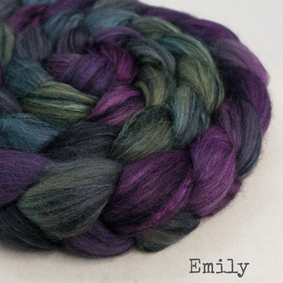 Polwarth Black Bamboo Silk Roving - Emily