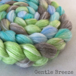 Merino Bamboo Silk Roving - Gentle Breeze