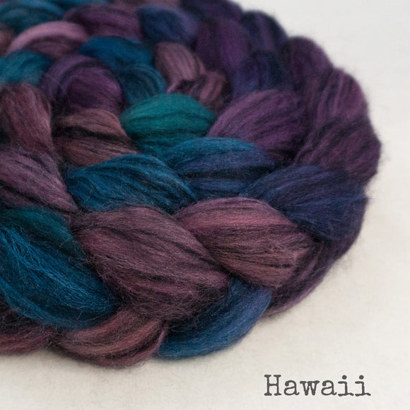 Polwarth Black Bamboo Silk Roving - Hawaii