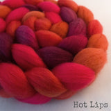 BFL Wool Roving - Hot Lips