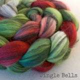 Polwarth Black Bamboo Silk Roving - Jingle Bells