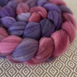 Organic Polwarth Mulberry Silk Roving - Meteor Shower